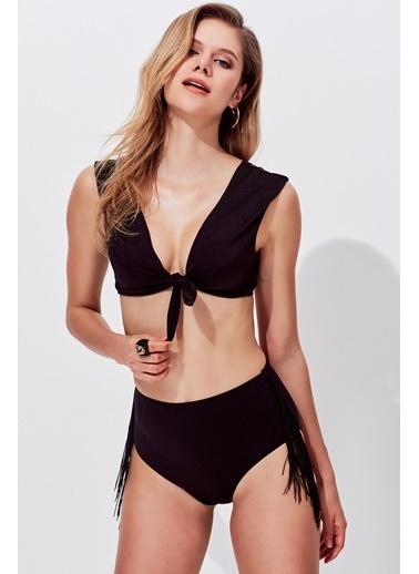 Miyuki Yüksek Bel Püsküllü Bikini Siyah